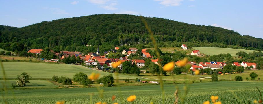 Saalborn aus Richtung des alten Bahndamms zwischen Bad Berka und Saalborn.